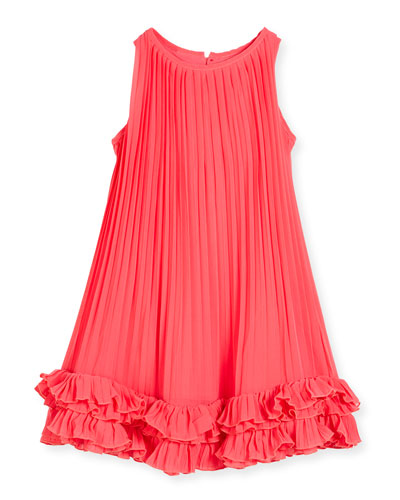 Sleeveless Pleated Chiffon Shift Dress, Watermelon, Size 2-6