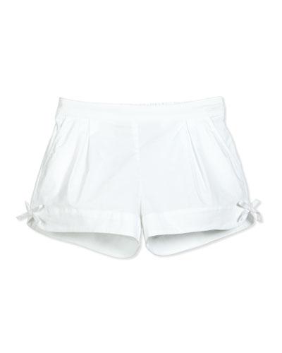 Pleated Stretch Poplin Shorts, White, Size 8-10