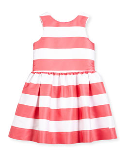 Sleeveless Striped A-Line Dress, Watermelon, Size 8-10