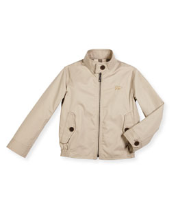 Beckford Twill Zip-Front Jacket, Taupe, Size 4-14