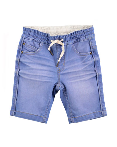 Whiskered Cotton-Blend Chambray Shorts, Light Blue, Size 4-6