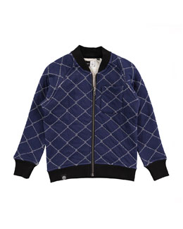 Quilted Reversible Raglan Jacket, Blue, Size 4-12
