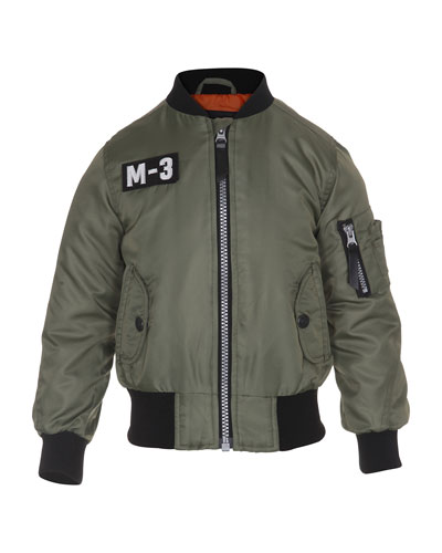 Zip-Front Bomber Jacket, Green, Size 4-12