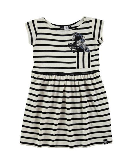 molo Cap-Sleeve Striped A-Line Dress, Black/Cream, Size 3-12