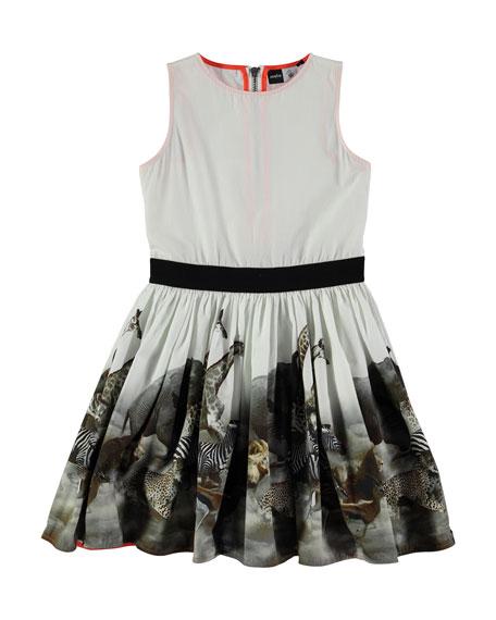molo Sleeveless Cotton Safari Dress, Gray, Size 3-12