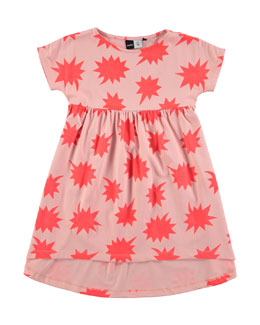 Cap-Sleeve Cotton A-Line Star Dress, Coral, Size 3-12