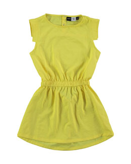Sleeveless Popover-Back A-Line Dress, Lemongrass, 3-14