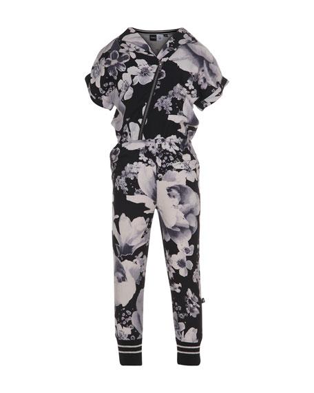 molo Floral Zip-Front Jumpsuit, Black, Size 5-14