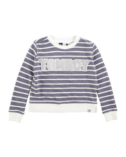 Striped Cotton Tomboy Sweatshirt, Blue/White, Size 6-14