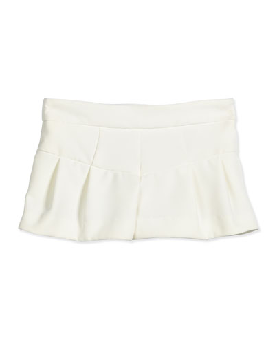 Italian Cady Pleated Shorts, White, Size 8-14