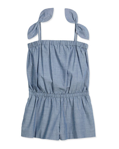 Chambray Tie Romper, Denim, Size 8-14