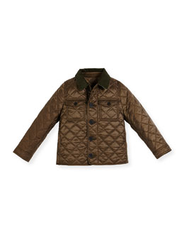 Phineas Quilted Button-Front Jacket, Oregano, Size 4-14