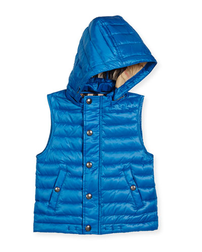 Dawes Hooded Down Puffer Vest, Vibrant Blue, Size 4-14