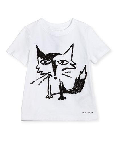 Short-Sleeve Fox Jersey Tee, White, Size 4-14