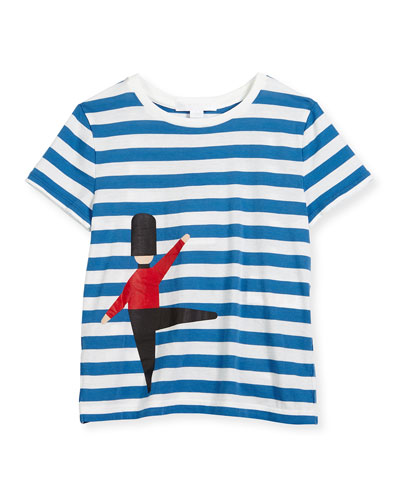 Tomas Striped Queen's Guard Tee, Blue Azure/White, Size 4-14