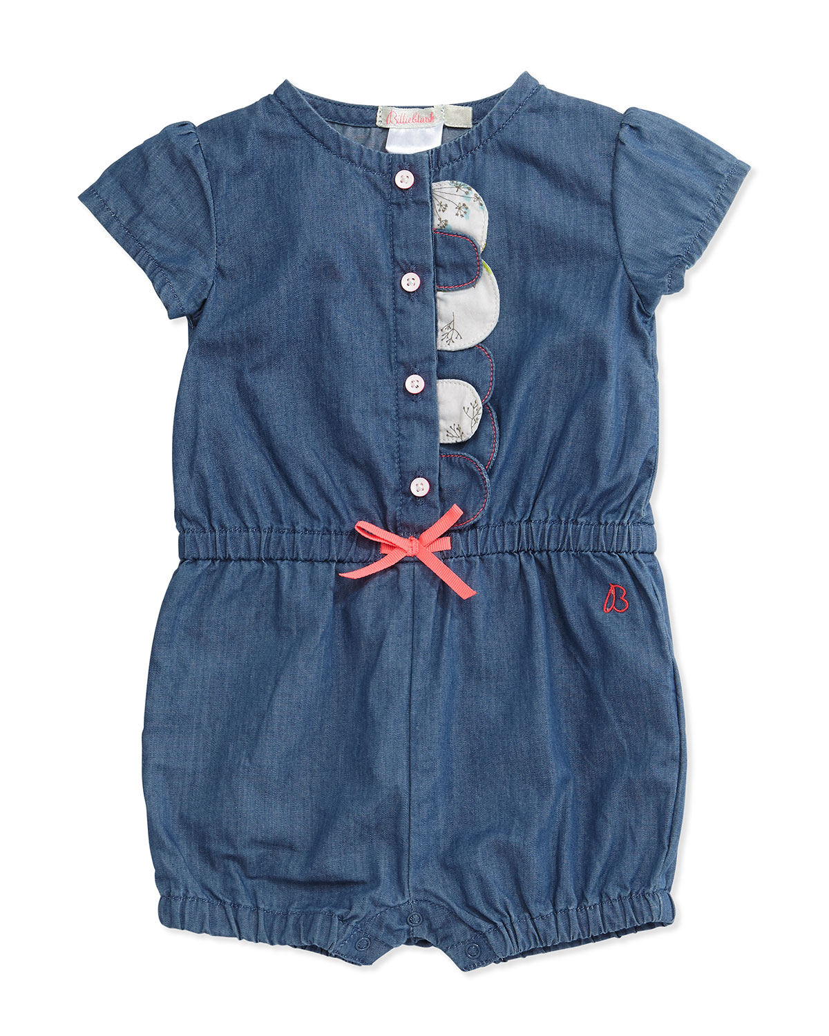 56f5d4713373 Billieblush Snap-Front Cotton Chambray Romper