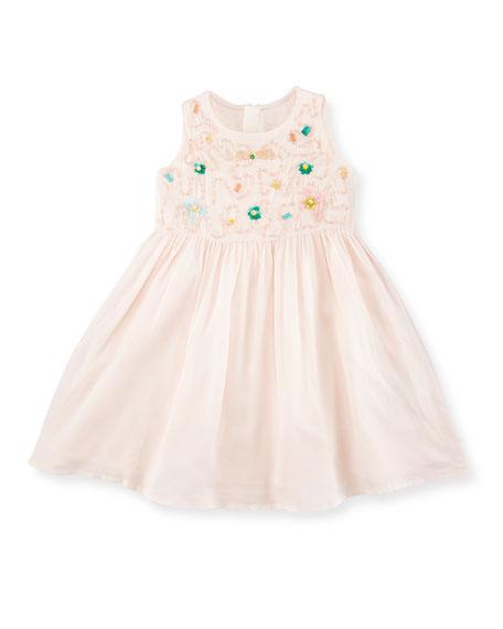 Billieblush Sleeveless Sequined Voile Sundress, Pink, Size 12