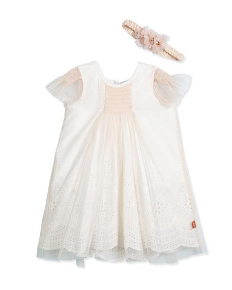Billieblush Cap-Sleeve Tulle Shift Dress with Headband, Pink, Size 12M-3