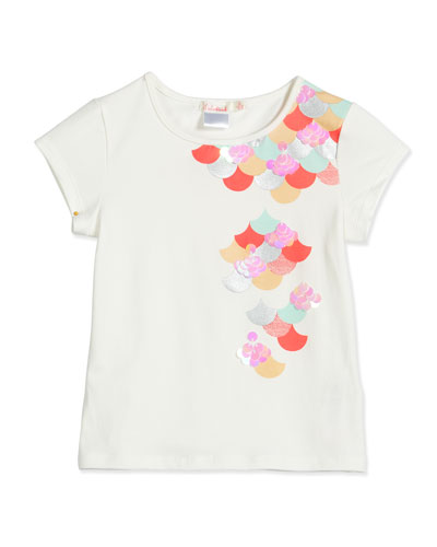 Scalloped Sea-Graphic Jersey Tee, White, Size 4-8