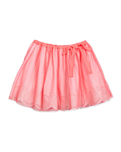 Smocked Tulle A-Line Skirt, Fuchsia, Size 4-8