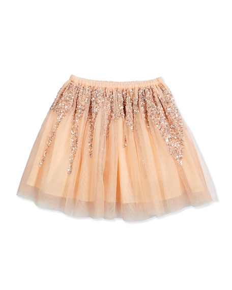 billieblush sequined tulle a line skirt pink size 4 8