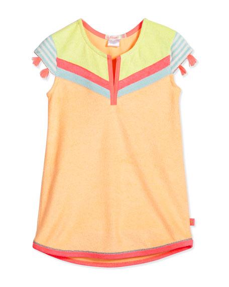 Billieblush Tasseled Colorblock Terry Shift Dress, Multicolor, Size 4-8