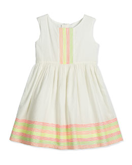 Sleeveless Embroidered Poplin Dress, White, Size 4-8