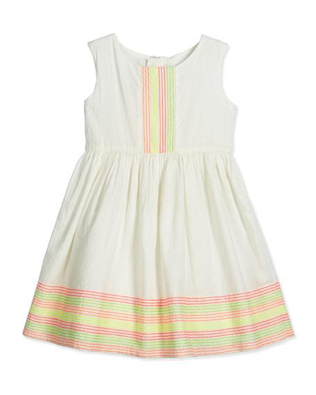 Billieblush Sleeveless Embroidered Poplin Dress, White, Size 4-8