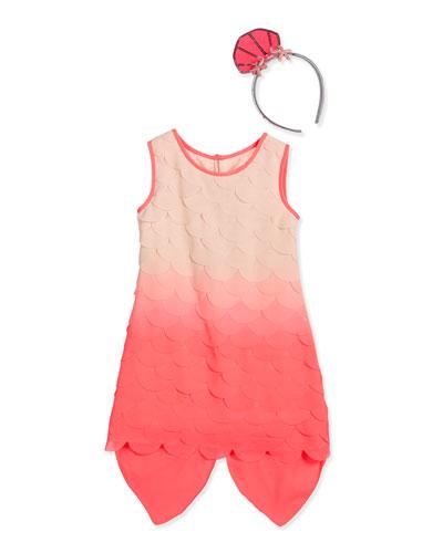 Sleeveless Scalloped Mermaid Dress, Fuchsia, Size 4-8