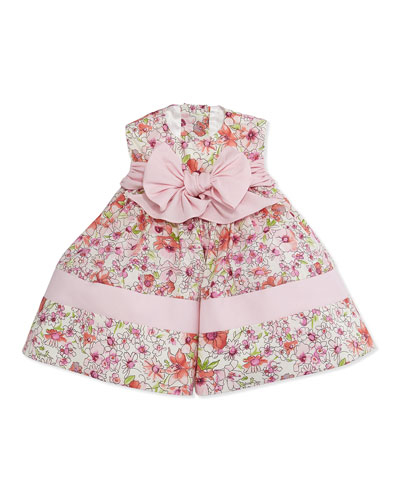 Sleeveless Floral Poplin Dress, Pink, Size 6-24 Months