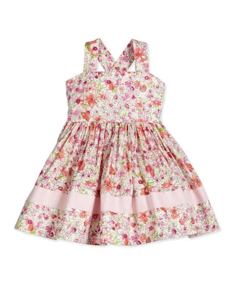 Helena Sleeveless Floral Poplin Sundress, Pink, Size 7-12