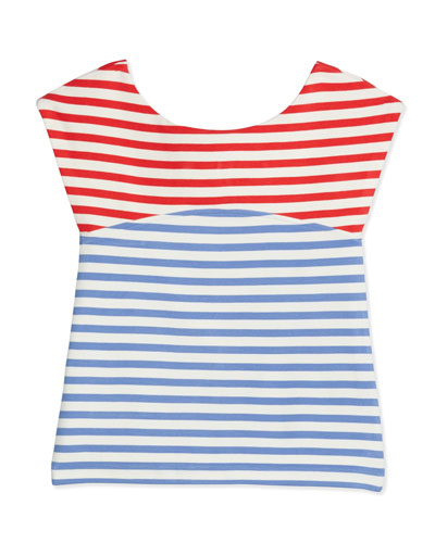 sleeveless striped jersey top, blue/red