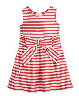 jillian striped stretch-jersey dress, red/white, size 7-14