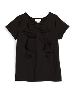 ruffled bow-trim jersey tee, black, size 7-14