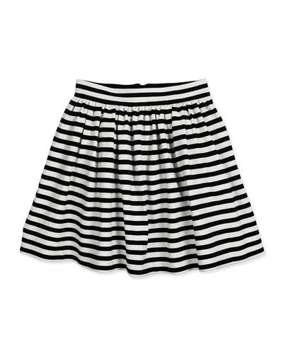 coreen striped a-line skirt, black/cream, size 7-14