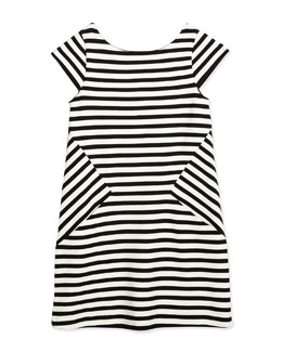 striped stretch-jersey shift dress, black/white, size 7-14