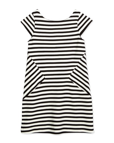 striped stretch-jersey shift dress, black/white, size 7-14