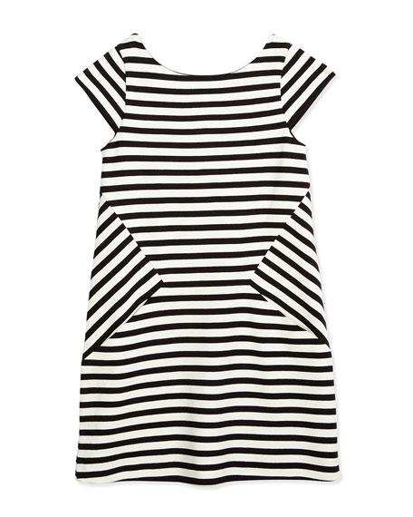 kate spade new york striped stretch-jersey shift dress, black/white, size 7-14