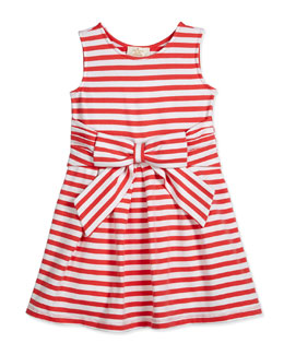 jillian striped stretch-jersey dress, red/white, size 2-6