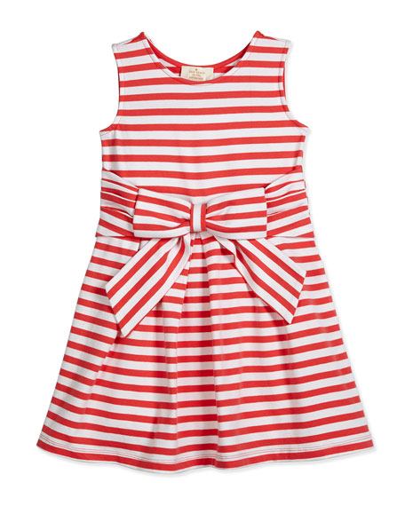 kate spade new york jillian striped stretch-jersey dress, red/white, size 2-6