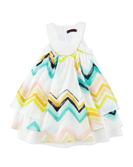 Sleeveless Paneled Zigzag Dress, White/Multicolor, Size 4-8