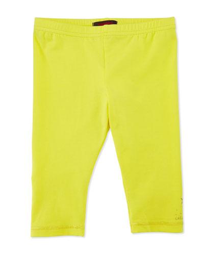 Stretch-Jersey Leggings, Lemon, Size 6M-3