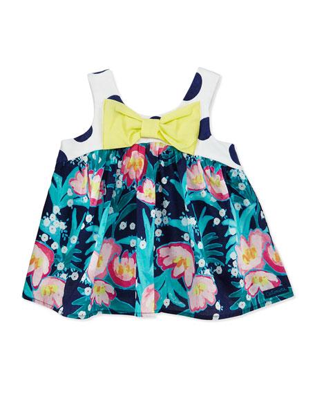 Catimini Sleeveless Floral Poplin Top, Indigo, Size 6M-3