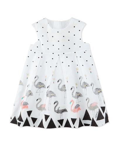 Sleeveless Pleated Poplin Polka-Dot Dress, White, Size 6M-3
