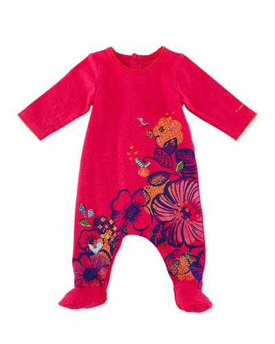 Floral Cotton Footie Playsuit, Fuchsia, Size 6-18 Months