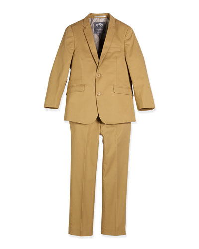 Modern Twill Two-Piece Suit, Sand, Size 2-14