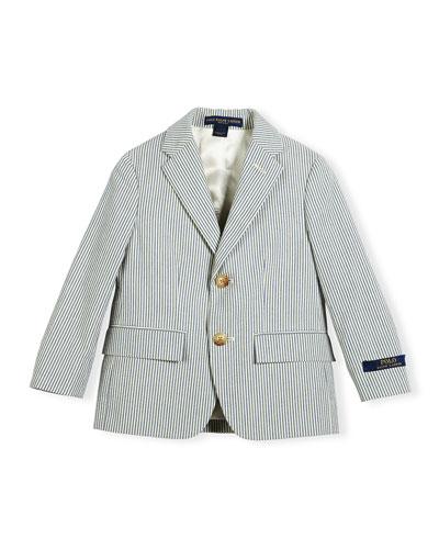 Polo I Striped Seersucker Jacket, Blue/Cream, Size 4-7