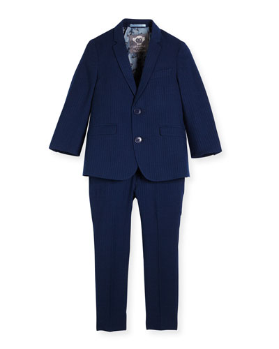 Modern Two-Piece Tonal Seersucker Suit, Navy, Size 2-14