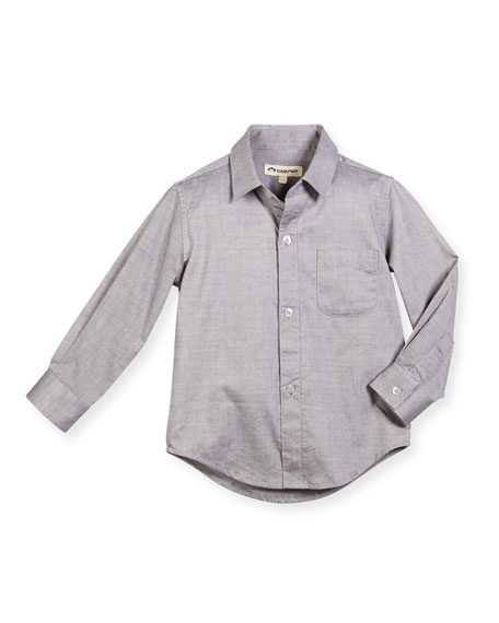 Long-Sleeve Cotton Pin-Dot Shirt, Gray, Size 2-14