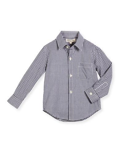 Long-Sleeve Cotton Gingham Shirt, Blue, Size 2-14